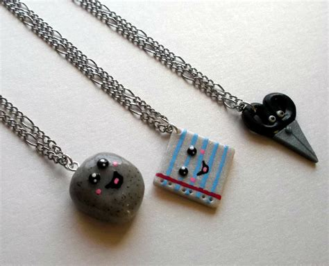 rock paper scissors 3 best friend necklace set