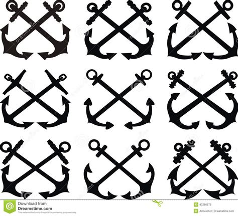 crossed anchor set stock vector image of symbol