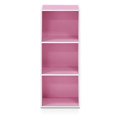 Furinno White Pink 3 Tier Open Shelf Bookcase 11003wh Pi