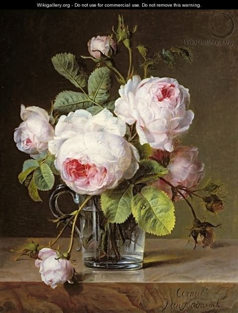 Roses In Glass Vase by Roses In A Glass Vase On A Ledge Cornelis Spaendonck