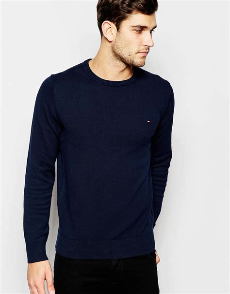 Hilfiger Crewneck lyst hilfiger jumper with crew neck in blue for