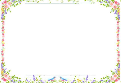 lined paper with spring border 6 best images of flower border paper printable free
