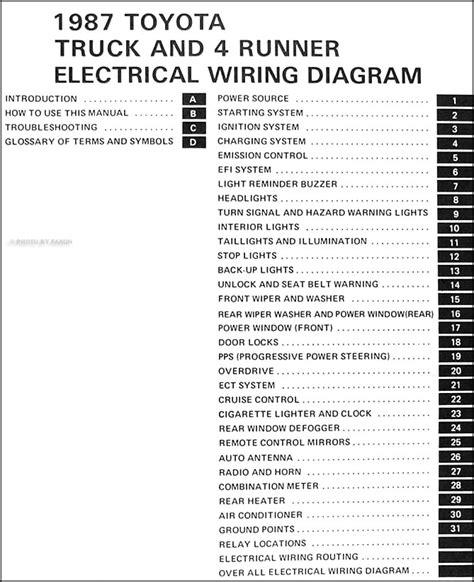 1987 Toyota Truck Amp 4runner Wiring Diagram Manual Original