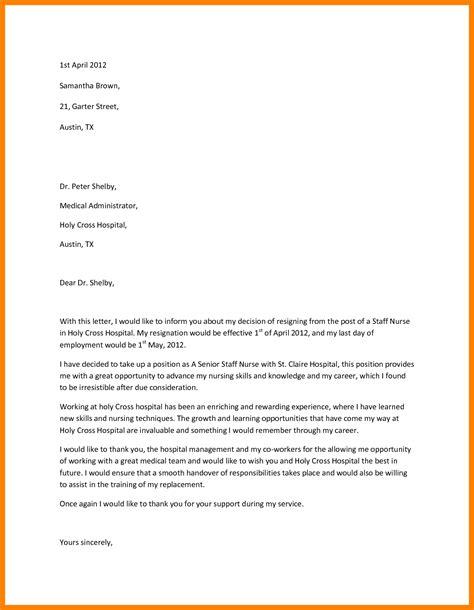 sample registered nurse resignation letter