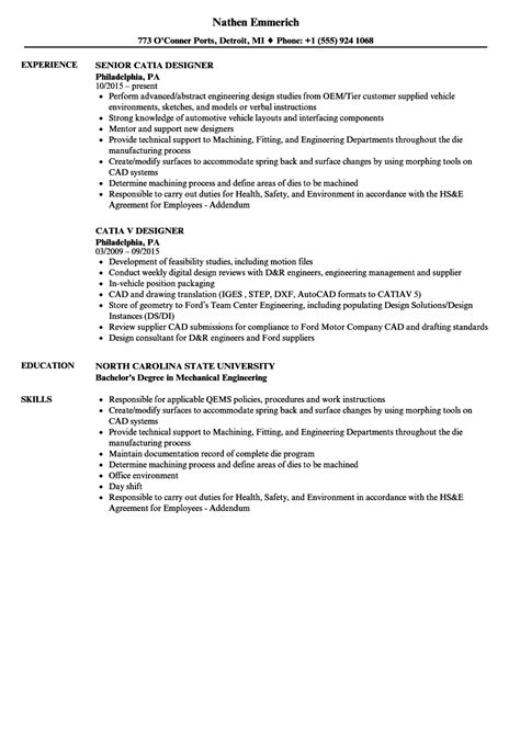 catia design engineer job description catia designer resume sles velvet jobs