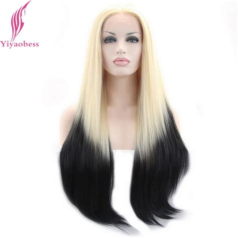 lightened front hair yiyaobess light blonde black ombre lace front wig