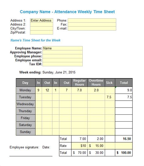 Excel Timesheet Templates 7 Free Download For Excel Timesheet Template Excel Free
