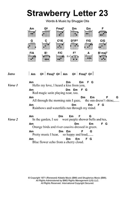 Letter Song Lyrics Strawberry Letter 23 Sheet By The Brothers Johnson Lyrics Chords 118004