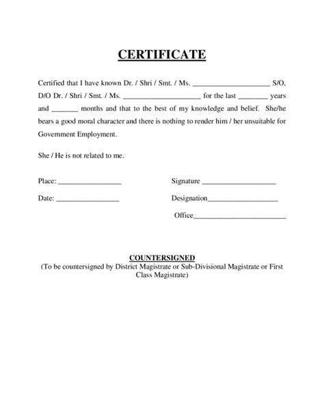 Character Certificate Letter In Moral Character Letter For Employee Character Letter Of Re Mendation Sle Crna Cover