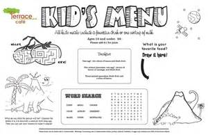 Menu Template For Pages by Menu Kid Menu Designs Kid Menu Templates