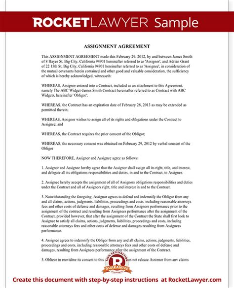 Free Georgia Residential Lease assignment of contract assignment agreement form sample