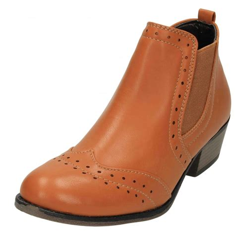 jwf faux leather brogue pull on chelsea ankle boots