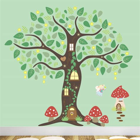 Woodland Wall Mural fairy folk enchanted tree nursery wall art stickers