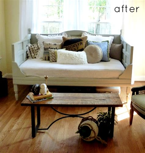 door couch before after old door daybed embellished cabinet