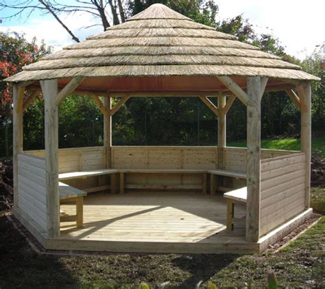 Hexagon Gazebo Plans Emperor Hexagonal Thatched Roof Building Plans For Gazebos And Pergolas