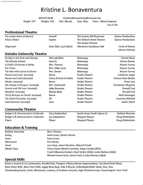 Theatre Resume Template by Acting Resume Template Free Sles Exles