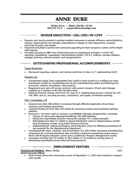 workalpha chief financial officer resume