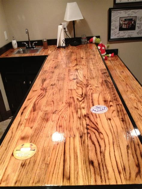 Bar Clear Coat Bar Made Out Of Oak Hardwood Flooring I Torched The Wood