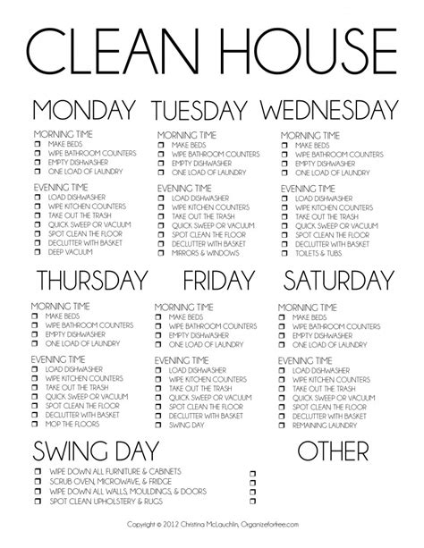 great daily cleaning schedule household