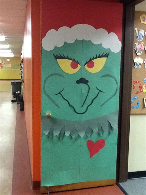christmas decorations for doors at school school grinch door decoration festival collections
