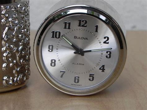 vintage bulova silver cylindrical desk alarm clock with compartment i like mikes mid century
