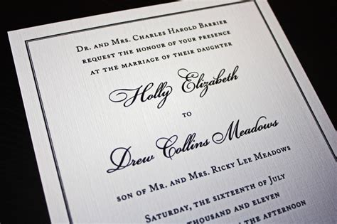 Linen Paper Wedding Invitations by Classic Black Border On Linen Wedding Invitations