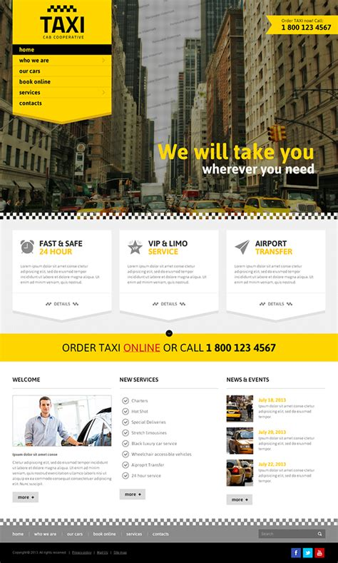 Taxi Cab Cooperative Service Bootstrap Html Template On Behance Taxi Website Template
