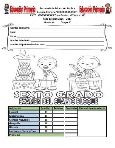 examen quinto grado cuarto bimestre 2016 respuestas examen del sexto grado del cuarto bloque del ciclo escolar