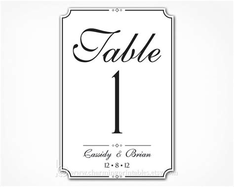 free printable wedding table number templates unavailable listing on etsy