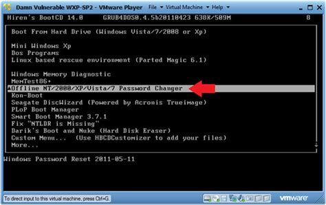 reset password windows xp hirens boot cd hiren s boot cd offline nt 2000 xp vista 7 password changer