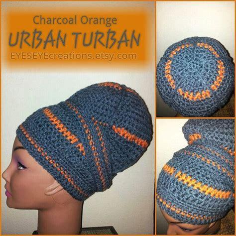 turban crochet tutorial charcoal orange urban turban crocheted head wrap made