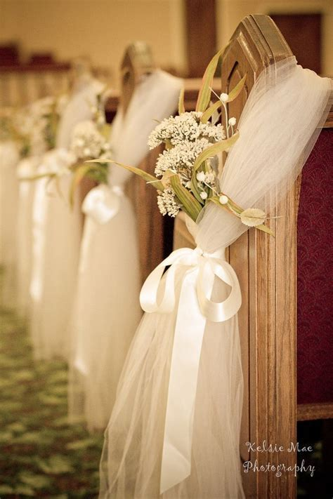 pew bows & babys breath & silk ribbon, good ideal, looks