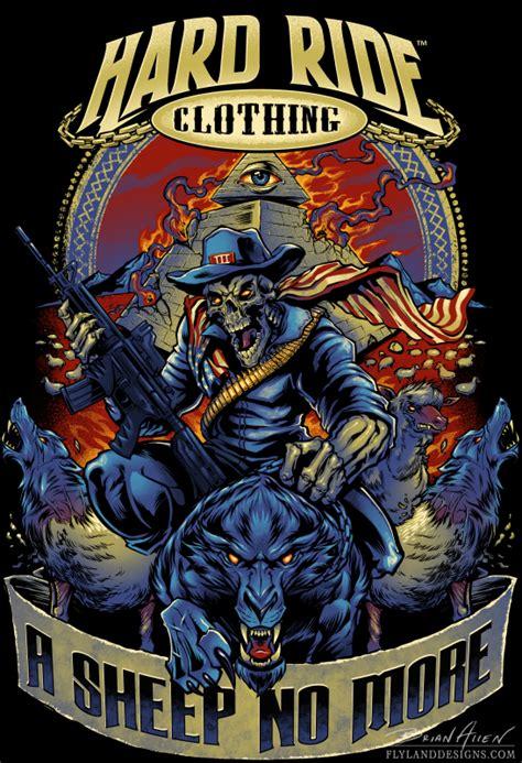 T Shirt 00928 Fly Rider skeleton rider patriot t shirt design flyland designs