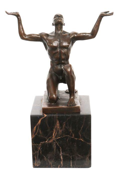 öl rieb bronze bad lichter statue de bronze homme nu sculpture figurine style antique