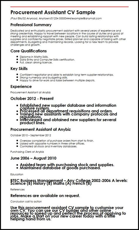 purchasing assistant resume sle procurement assistant cv sle myperfectcv