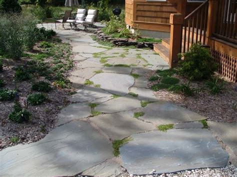 flagstone walkway studio garage exterior fix up