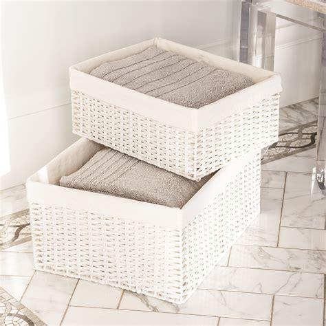 white with baskets white montauk woven rectangular storage bins the