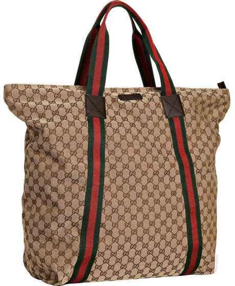 Gucci Strike Large Tote by Gucci Beige Gg Canvas Web Stripe Large Travel Tote In