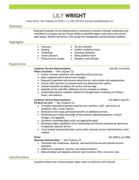 Customer Service Representative Resume by Simple Customer Service Representative Resume Exle