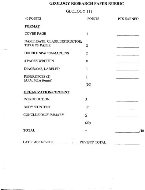 Paper Grading Rubric Template