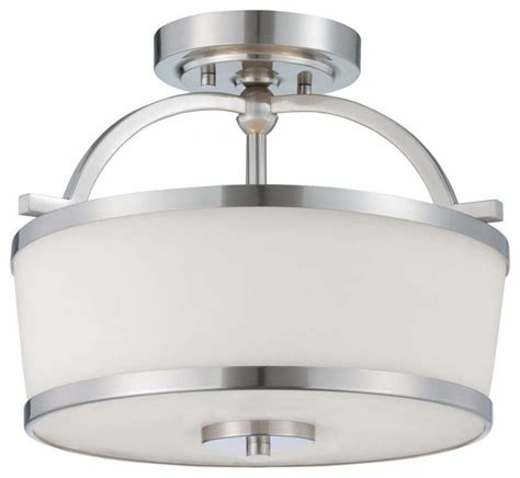 White Drum Ceiling Light Shop Houzz We Got Lites Two Light Satin Nickel White Etched Glass Drum Shade Semi Flush Mount