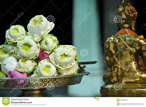 a lotus for you a buddha to be sanctity lotus and buddha statue stock photos image