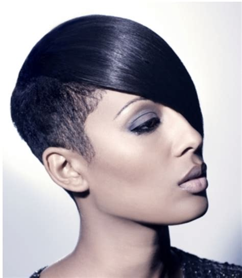 very short in back and very long in front hair 2015 black women hairstyle with long smooth straight bang