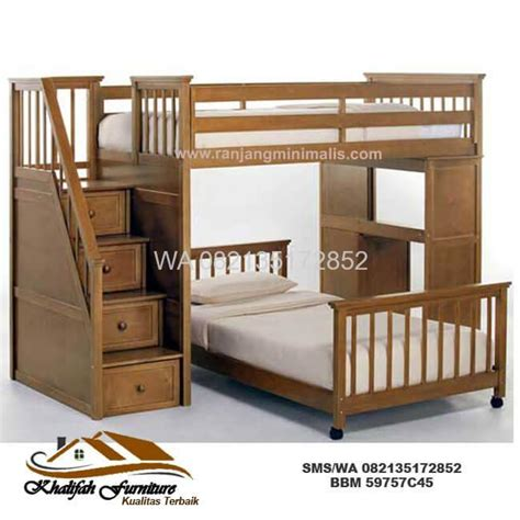 Tempat Tidur Tingkat Kayu Bekas jual tempat tidur tingkat murah kayu jati cv khalifah