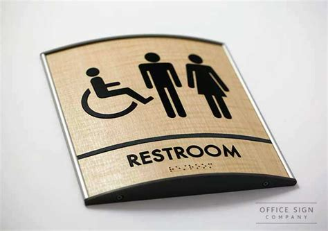 bathroom signs for office curved wood bathroom ada signs curved modular sign