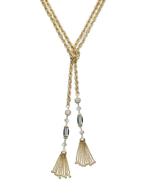 beaded tassel necklace inc international concepts gold tone beaded y shaped