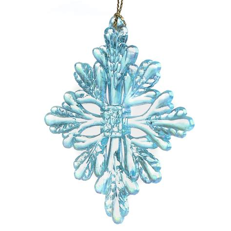 acrylic icy blue iridescent snowflake ornament christmas