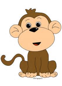 monkey clipart coloring page