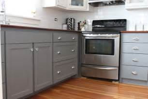 Gray Painted Kitchen Cabinets by Modern Jane Two Tone Cabinets Reveal