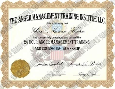 Anger Management 24 Hour 24 Lesson Anger Management Class Anger Management Certificate Of Completion Template